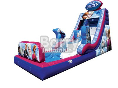 0.55MM PVC Slides For Sale , Frozen Cartoon Commercial Inflatable Water Slides With Pool BY-WS-004
