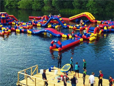 OEM Aflex Aqua Adventure Waterpark Game , Red Inflatable Floating Water Park For Sea BY-IWP-017